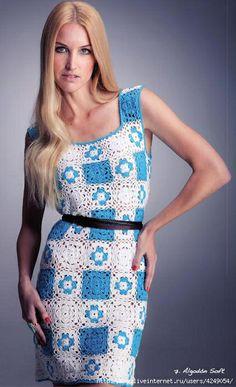 Crochet blue and white dress ♥LCD-MRS♥ with diagram just one square is needed --- Crochetemoda: Vestido de Crochet