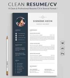 Word / Template with super clean and modern look. Clean Resume Template page designs are easy to use and customize, so you can quickly tailor-make your resume for any opportunity and help you to get your job. Free Cv Template Word, Cv Templates Free Download, Microsoft Word Resume Template, Resume Template Examples, Teacher Resume Template, Modern Resume Template, Resume Examples, Cv Photoshop, Photoshop Illustrator