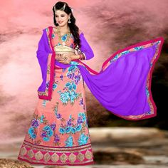Beautiful Party Wear Printed Lace Border Peach Lehenga Choli - 15848 ( ML-928 )
