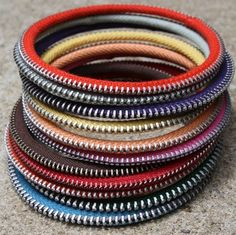 Bracelets made by old colourful zippers!