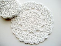 Crochet Coaster Set White Cotton Lace 6 by HandcraftedorVintage