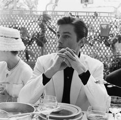 Alain Delon at the Cannes Film Festival, 1961 AHHHhhh! So handsome! Melanie Griffith, Michael Bolton, Richard Avedon, Jane Seymour, Fred Astaire, Keith Richards, Rare Photos, Photos Du, Anita Pallenberg