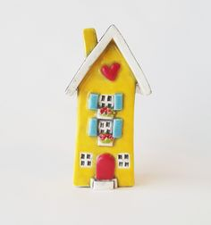 Yellow House | Little Clay House | Ceramic House | Whimsical House | Fairy House | Clay Cottage | Little House | House with Hearts by HeartHomes on Etsy