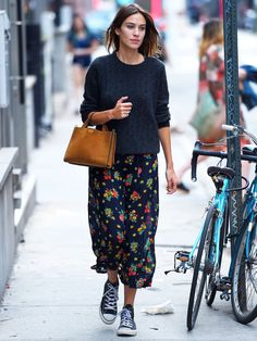 Converse + floral skirt + sweater