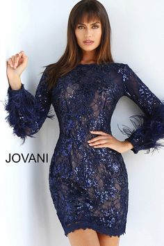 ffcd70c2fb jovani Navy Long Sleeve Embellished Cocktail Dress 63351 Bodice, Neckline,  Feather Skirt, Fitted