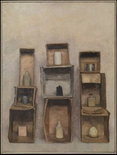 Charles Hardaker 'Still Life: Vertical Structures, Three Times Three', 1965 © Charles Hardaker Painting Still Life, Still Life Art, Observational Drawing, Royal College Of Art, Illustrations, Box Art, Art Images, Life Images, Be Still