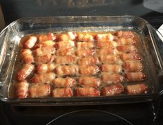 BACON WRAPPED SMOKIES WITH BROWN SUGAR AND BUTTER Quick Appetizers, Appetizer Recipes, Snack Recipes, Cooking Recipes, Healthy Recipes, Bacon Wrapped Little Smokies, Lil Smokies, How To Make Bacon, Peanut Butter Blossoms