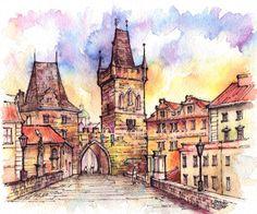 A4 painting. #prague #czechrepublik #architecture #buildings #bridge…