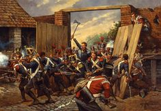 The French Infantry break through the gates of Hougoumont at the Battle of Waterloo 1815 Waterloo 1815, Battle Of Waterloo, Waterloo Film, Military Art, Military History, Military Diorama, La Haye, British Soldier, British Army