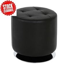 Julie Black Round Stool In Faux Leather