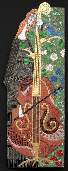 "Pastorale | Irina Charny Mosaics.  Pastorale  15"" x 42""  glass, porcelain, millefiori,  gold, smalti, semi-precious beads  2005"