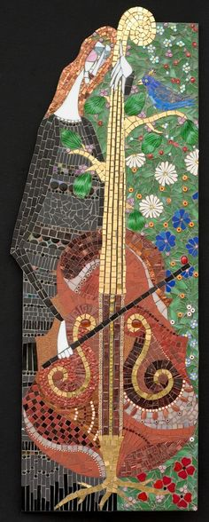 "Pastorale   Irina Charny Mosaics.  Pastorale  15"" x 42""  glass, porcelain, millefiori,  gold, smalti, semi-precious beads  2005"