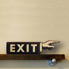 Antique style vintage look Enamel Exit Gas Pump Mam Cave Fuel Sign!