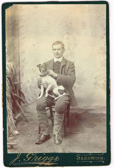ANTIQUE CABINET PHOTO SPORTING GENT & JACK RUSSELL TERRIER DOG ON LAP SANDWICH