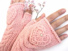 TENDER LOVE... Pink Fingerless Gloves with a HEART