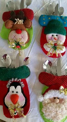 Felt Christmas, Simple Christmas, Christmas Crafts, Heart Pop Up Card, Silverware Holder, Easy Christmas Decorations, Deco Table, Gingerbread Cookies, Snowman