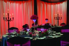 Elegant Red and Purple Halloween Vow Renewal Reception Decor