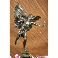 ON SALE !!! Signed Anteros Angel With Arrow Valentine Sculpture Gift Mythical Figurine Decor...The Statue Of Anteros By Alfred Gilbert (1885) From The Shaftesbury Memorial Inpicadilly Circus, London. Anteros In This Memorial Symbolises The Selfless Philanthropic Love Of The Earl Of Shaftesbury For The Poor. The Memorial Is Sometimes Given The Name The Angel Of Christian Charity And Is Popularly Called Eros, Both Of Which Are Incorrect. In Greek Mythology, Anteros (A?T????) Was The God Of ...