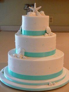 wedding cake possibility. LOVE the sea shells =)