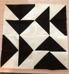 knit 'n lit: Modern Half-Square Triangle Quilt-a-Long Block 4
