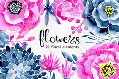 21 Watercolor floral elements by Watercolor clipart on @creativemarket