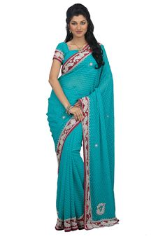 Blue Color Chiffon Designer Saree