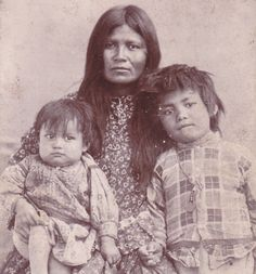 Wife of Geronimo Two Children, 1880s, Native American Apache Indian