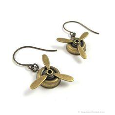 Propeller Earrings Inspired by Amelia Earhart (Airplane Jewelry for Pilot, Traveler) ~