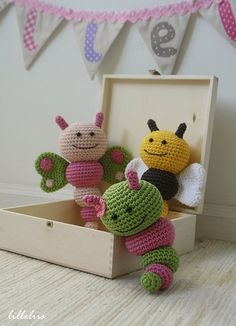 Bug rattles - Butterfly, Bee and Caterpillar crochet pattern