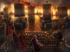 Battle of Chibi, Lord Zhou-Yu's fireships attaching Cao-Cao's navy, War of the Three Kingdoms.