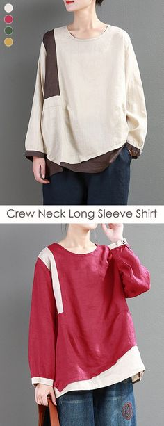 03322e921f36ca Vintage Patchwork Crew Neck Long Sleeve Shirt can cover your body well