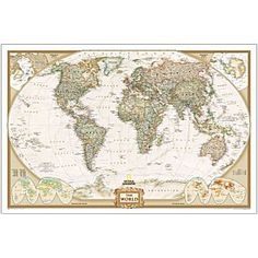 World Political Map (Earth-toned) | National Geographic Store