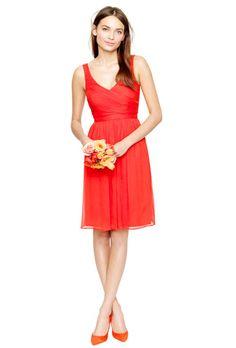 "Brides.com: Citrus Bridesmaid Dresses. Style 93100, ""Heidi"" silk chiffon dress in poppy, $250, J.Crew  See more J.Crew bridesmaid dresses."