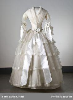 Swedish wedding dress, ca. 1854.  My God, look at that waist.