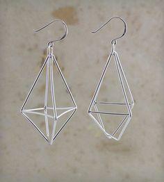 Diamond Wire Sterling Silver Earrings by Eliane B Jewelry on Scoutmob Shoppe. Delicate, geometric gems.