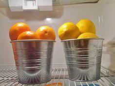 Ikea Socker Plant Pot turned cute fruit holder.  Fridge beautification. Do it.