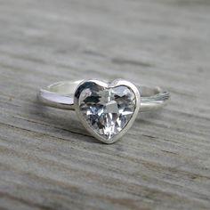 White Topaz Heart Shaped Gemstone Ring Sterling by onegarnetgirl, $218.00
