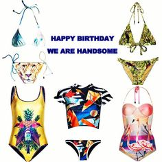 #HappyBirthday to my favorite #Swimwear brand #wearehandsome My  from the collection right now !  from top left clockwise - #classic! the #king #stringbikini the #messenger #tiefront #bikini the #bahamas panel #onepiece the #ferrago #cropped rashie set and the #bouquet scoop one piece #swimsuit #bodysuit #beach #love #worknplay