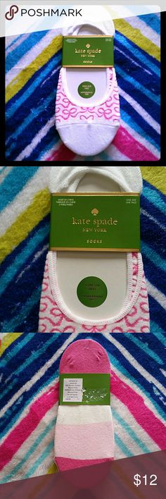 NWOT Kate Spade New York footie socks 3 pk NWOT Kate Spade New York footie socks with non slip heel. Three pairs; white with pink bows strung together, plain white, and color block of pinks and white. Bundle and save. Free gift with every purchase! Happy poshing! kate spade Accessories Hosiery & Socks
