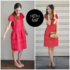 A few weeks ago I posted about resizing an oversized side-zippered dress, and promised a tutorial on a back-zippered dress. So today is the day, friends. I found this dress at Kohl's a few months ago, and with the holidays approaching, I just had to have it. The only problem was that it was about …