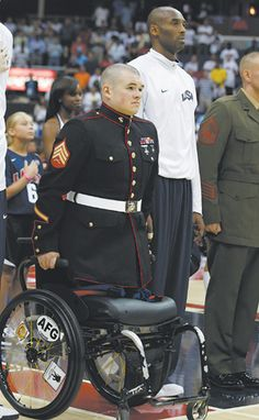 Image result for marine in wheelchair national anthem