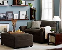 Living room color schemes with brown furniture living room colors medium Living Room Color Schemes, Paint Colors For Living Room, Living Room Designs, Colour Schemes, Brown And Blue Living Room, Brown Couch Living Room, Cozy Living, Small Living, Modern Living