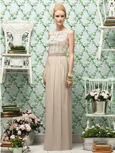 Sheath/Column Bateau Lace Sleeveless Chiffon Floor-Length Bridesmaid Dresses