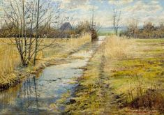 Żuławy kanał Wojciech Górecki Painting, Painting Art, Paintings, Painted Canvas