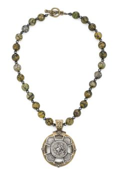 """$225.00 USD 16"""" cracked agate and hematite with antiqued brass-clad FDL hematite cab bezel and antiqued sterling-clad silver Equestrian Merit cross by French Kande"""
