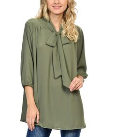 Look what I found on #zulily! Olive Tie-Neck Top #zulilyfinds