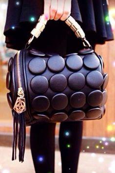Black button pillow bag