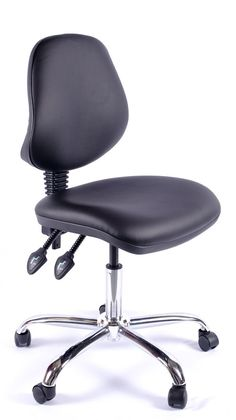 An excellent quality medium back vinyl operator office chair.  This office chair is standard with a 2 lever mechanism allowing seat height and back angle adjustment.  The back rest height is also adjustable #furniture #officechair #metalbarschair #computerchair