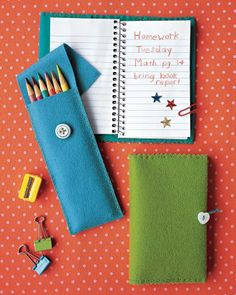 "See the ""Felt Pencil Case"" in our Sewing Projects for Kids gallery  Seems great for leftover felt!"