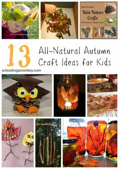 13 Natural Fall Craft Ideas for Kids- Schooling a Monkey (fall crafts for kids) Easy Fall Crafts, Fall Crafts For Kids, Thanksgiving Crafts, Art For Kids, Easy Crafts, Kids Crafts, Autumn Activities For Kids, Craft Activities, Educational Activities